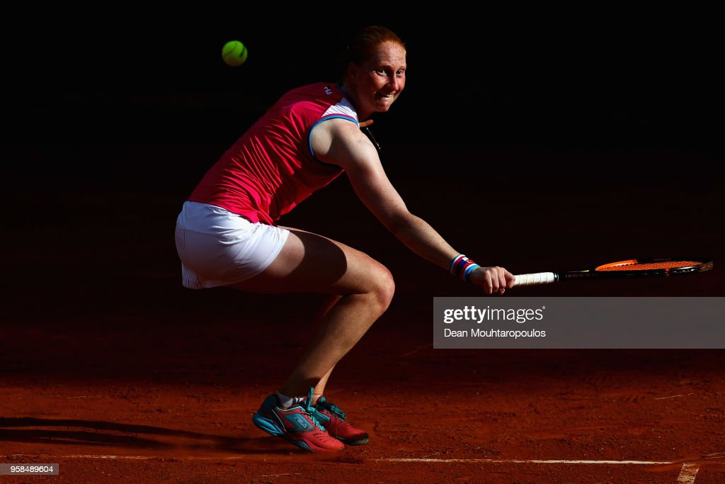 Alison Van Uytvanck of Belgium returns a backhand in her match against Samantha Stosur of Australia during day two of the Internazionali BNL d'Italia 2018 tennis at Foro Italico on May 14, 2018 in Rome, Italy.