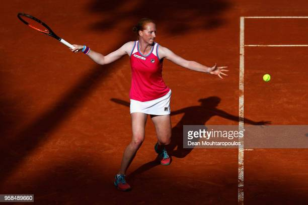 Alison Van Uytvanck of Belgium returns a forehand in her match against Samantha Stosur of Australia during day two of the Internazionali BNL d'Italia...