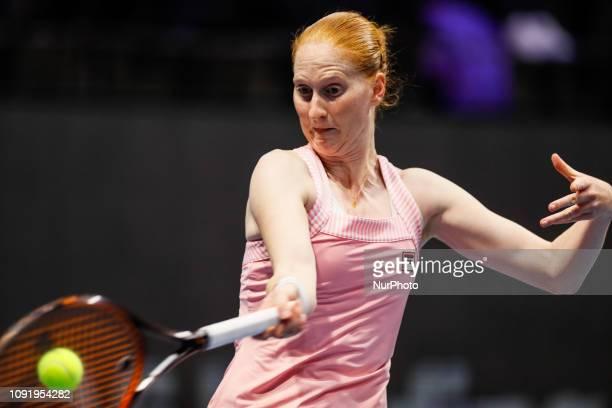 Alison Van Uytvanck of Belgium returns the ball to Aryna Sabalenka of Belarus during their WTA St Petersburg Ladies Trophy 2019 tennis match on...