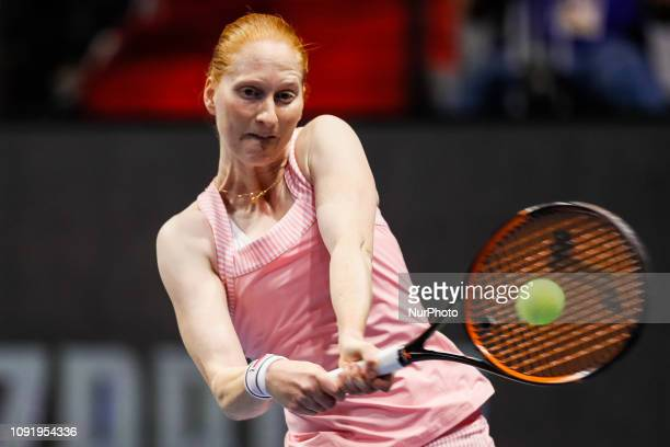 Alison Van Uytvanck of Belgium returns the ball to Aryna Sabalenka of Belarus during their WTA St Petersburg Ladies Trophy 2019 tennis match on...
