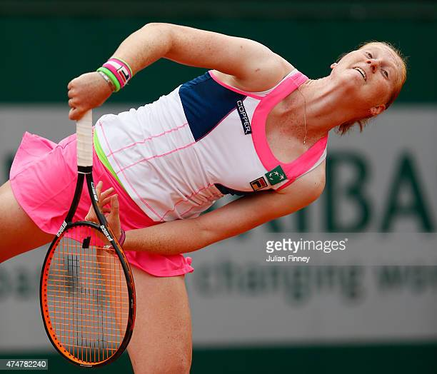 Alison van Uytvanck of Belgium serves during her women's singles match against Anna Karolina Schmiedlova of Slovakia on day three of the 2015 French...