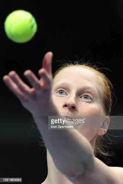 Alison Van Uytvanck of Belgium serves during the St Petersburg Ladies Trophy tennis tournament match on January 31 at Sibur Arena in St Petersburg...
