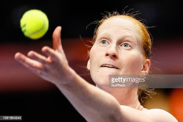 Alison Van Uytvanck of Belgium serves the ball during her WTA St Petersburg Ladies Trophy 2019 tennis match against Aryna Sabalenka of Belarus on...