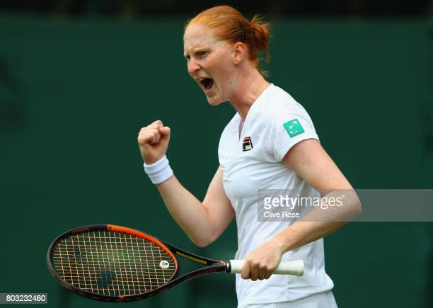 Alison van Uytvanck of Netherlands celebrates during her singles qualifying match against Katy Dunne of Great Britain during the 2017 Wimbledon...