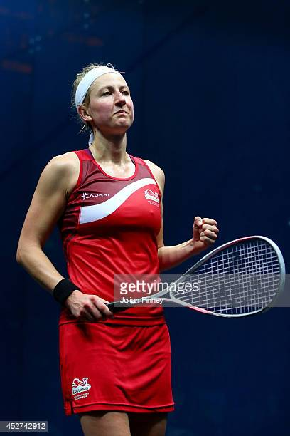 Alison Waters of England celebrates defeating Dipika Pallikal of India during the quarter finals of the Women's Squash at Scotstoun Sports Campus...