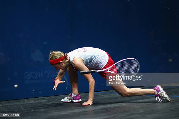 Alison Waters of England loses her racket as she attemts to play a forehand during the Women's Singles semifinal match between Alison Waters of...