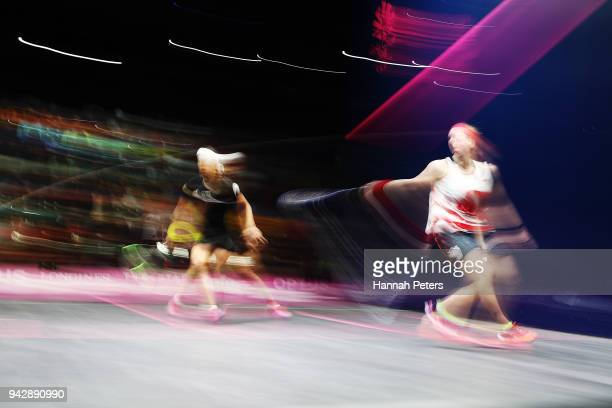 Alison Waters of England plays a backhand during her Women's Singles Quarter Final squash match against Nicol David of Malaysia on day three of the...