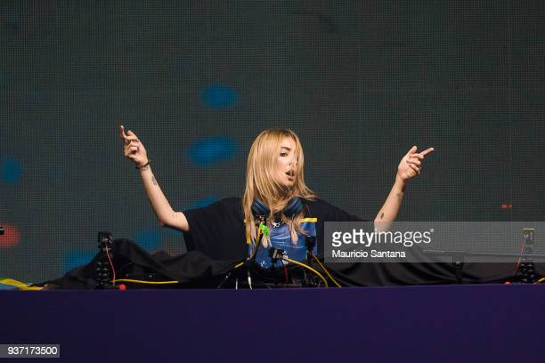 Alison Wonderland performs live on stage during the first day of Lollapalooza Brazil at Interlagos Racetrack on March 23 2018 in Sao Paulo Brazil