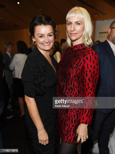 Alison Wright and Mickey Sumner of TBS's Snowpiercer poses in the WarnerMedia Upfront 2019 green room at Nick and Stef's Steakhouse on May 15 2019 in...