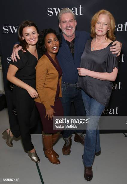 Alison Wright Michelle Wilson James Colby and Johanna Day attend the photocall for the Broadway cast of 'Sweat' at The New 42nd Street Studios on...