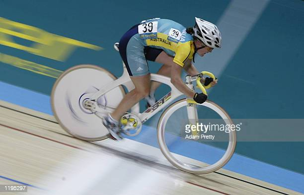 Alison Wright of Australia on her way to fourth place in the Women's 25 km Points Race Final at the National Cycling Centre during the 2002...