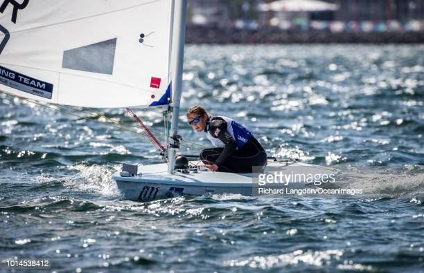 Alison Young from the British Sailing Team sails at the 2018 ISAF Sailing World Championships on August 10 2018 in Aarhus Denmark