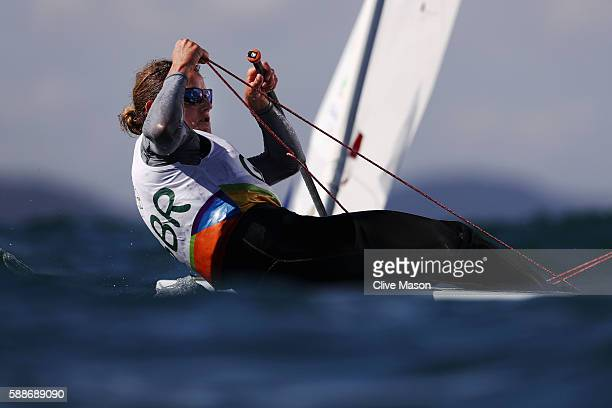 Alison Young of Great Britain competes in the Women's Laser Radial class on Day 7 of the Rio 2016 Olympic Games at Marina da Gloria on August 12 2016...