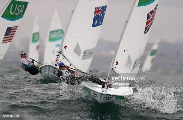 Alison Young of Great Britain in action during a Laser Radial class race on Day 5 of the Rio 2016 Olympic Games at the Marina da Gloria on August 10...