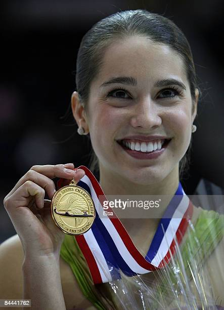 Alissa Czisny poses with her gold medal in the ladies free skate during the AT&T US Figure Skating Championships on January 24, 2009 at the Quicken...