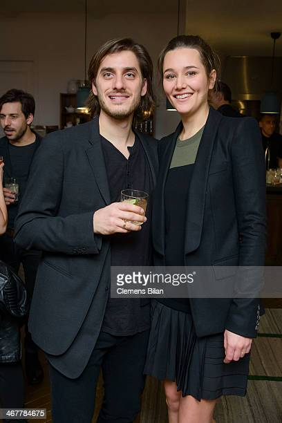 Alissa Jung and Luca Marinelli attend the Diesel & Constantin Film cocktail reception during 64th Berlinale International Film Festival at Soho House...