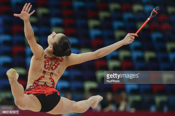Alissa Sadek of Lebanon competes in Women's Clubs Individual Final during day three of Baku 2017 4th Islamic Solidarity Games at the National...