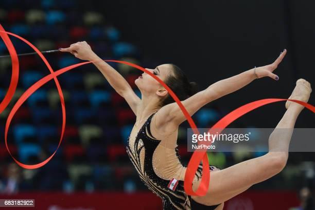 Alissa Sadek of Lebanon competes in Women's Ribbon Individual Final during day three of Baku 2017 4th Islamic Solidarity Games at the National...