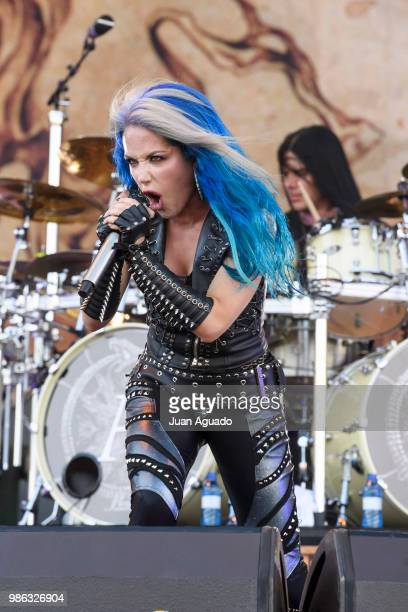 Alissa WhiteGluz and Daniel Erlandsson of the band Arch Enemy perform on stage during Day 1 of the Download Festival on June 28 2018 in Madrid