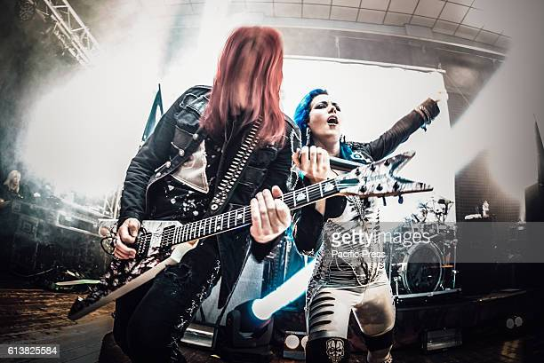 CLUB MONCALIERI TORINO ITALY Alissa WhiteGluz and Michael Amott of Arch Enemy performing live on stage at the Audiodrome Live club for their War...