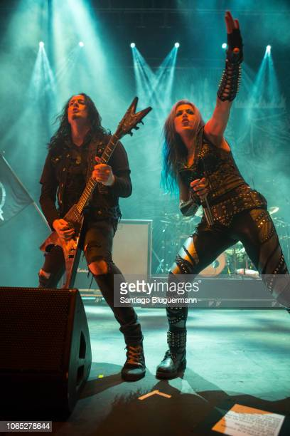 Alissa WhiteGluz and Mike Amott performs with Arch Enemy as opening act for Helloween´s Pumpkins United World Tour at Luna Park on November 8 2018 in...