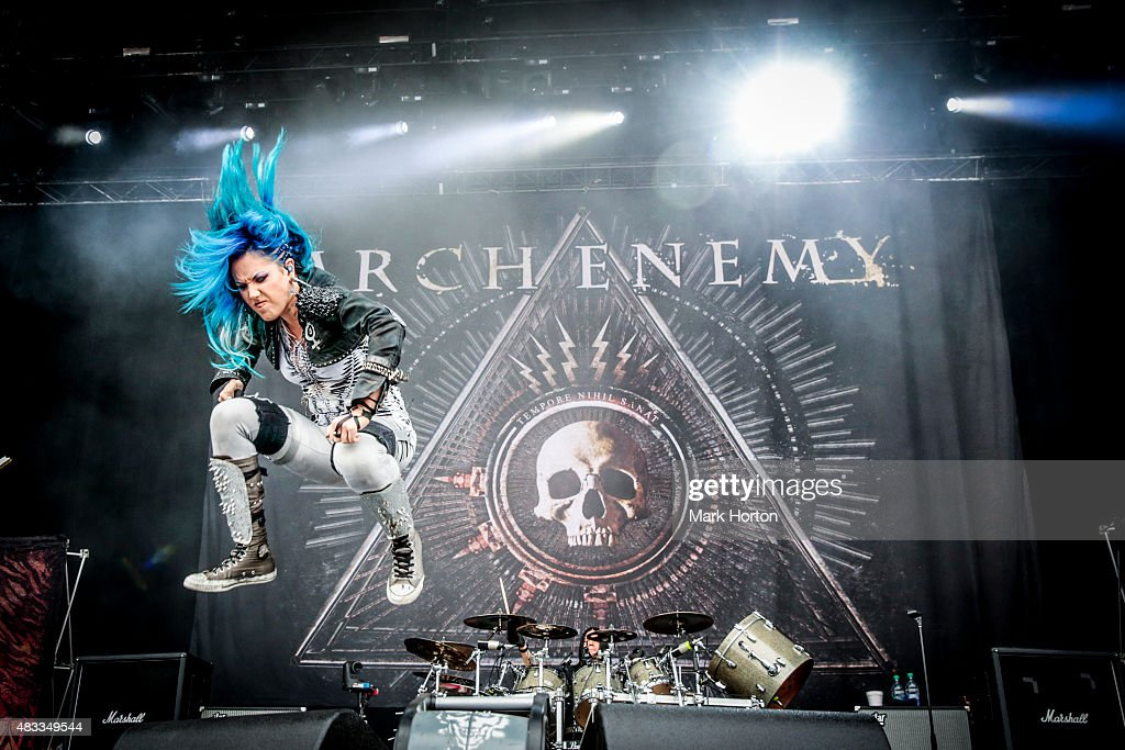 Alissa White-Gluz of Arch Enemy performs on Day 1 of the Heavy Montreal Festival at Parc Jean-Drapeau on August 7, 2015 in Montreal, Canada.