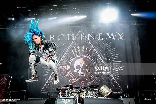 Alissa WhiteGluz of Arch Enemy performs on Day 1 of the Heavy Montreal Festival at Parc JeanDrapeau on August 7 2015 in Montreal Canada
