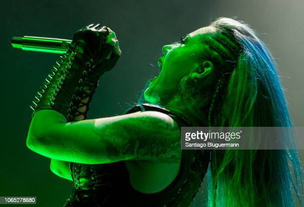 Alissa WhiteGluz performs with Arch Enemy as opening act for Helloween´s Pumpkins United World Tour at Luna Park on November 8 2018 in Buenos Aires...
