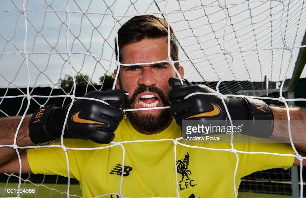 Alisson after signing a new contract for Liverpool FC at Melwood Training Ground on July 19 2018 in Liverpool England