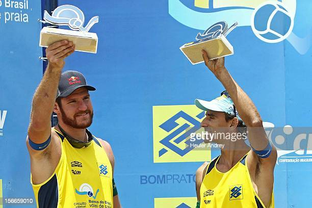 Alisson and Emanuel celebrate during a match for the 5th stage of the season 2012/2013 of Banco do Brasil Beach Volleyball Circuit on November 18...