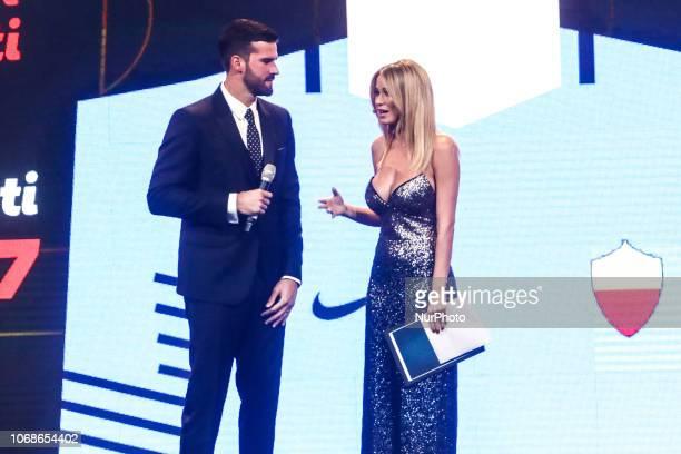 Alisson Becker and Diletta Leotta attend 'Oscar Del Calcio AIC' Italian Football Awards in Milan Italy on December 03 2018