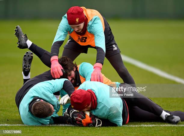 Alisson Becker Andy Lonergan Adrian and Caoimhin Kelleher of Liverpool during a training session at Melwood Training Ground on February 10 2020 in...