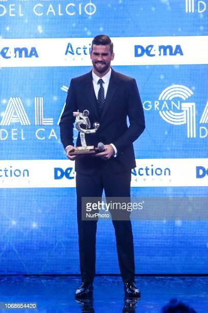 Alisson Becker attend 'Oscar Del Calcio AIC' Italian Football Awards in Milan Italy on December 03 2018