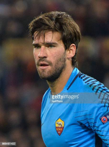 Alisson Becker during the Champions League football match AS Roma vs Chelsea Football Club at the Olympic Stadium in Rome on october 31 2017