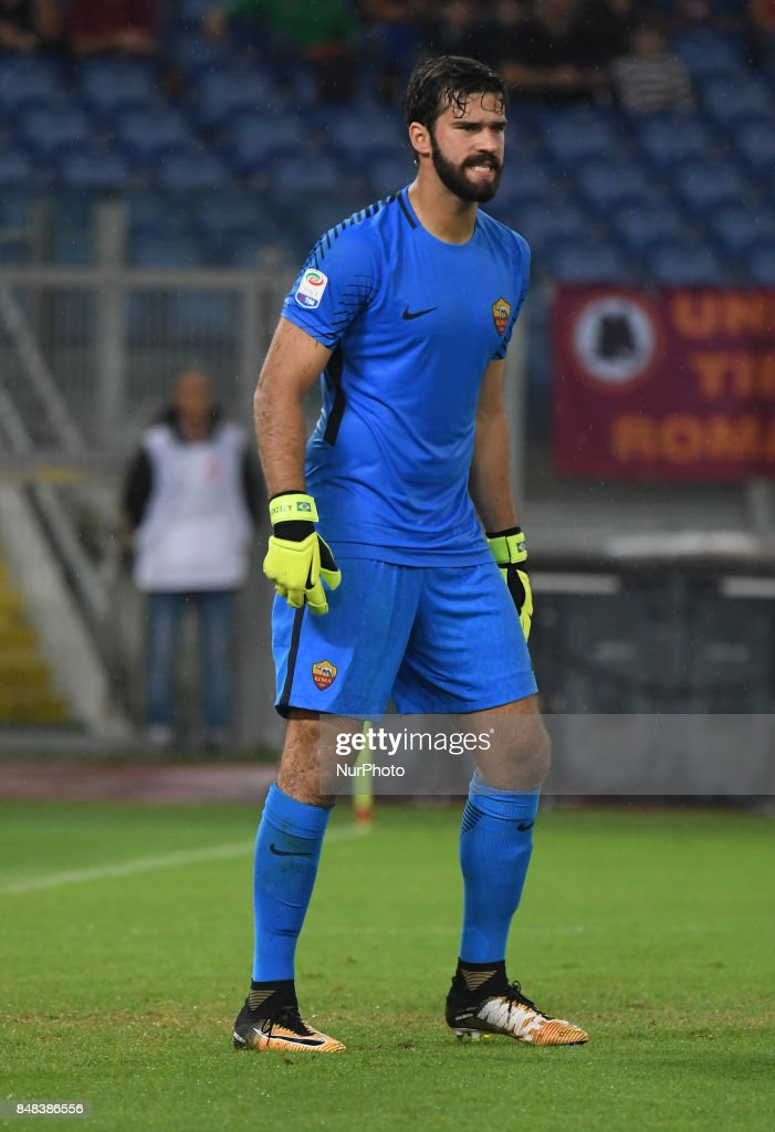 Alisson Becker during the Italian Serie A football match between A.S. Roma and F.C. Hellas Verona at the Olympic Stadium in Rome, on september 16, 2017.