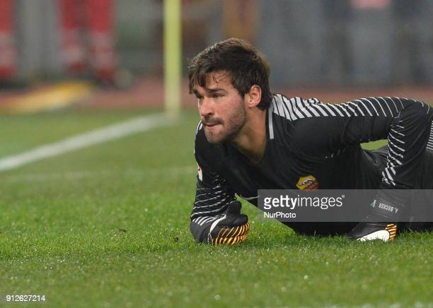 Alisson Becker during the Italian Serie A football match between AS Roma and Sampdoria at the Olympic Stadium in Rome on janaury 28 2018