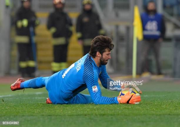 Alisson Becker during the Italian Serie A football match between AS Roma and Benevento at the Olympic Stadium in Rome on february 11 2018