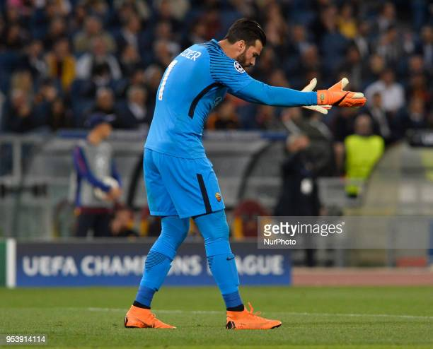 Alisson Becker during the UEFA Champions League semifinal match between AS Roma and FC Liverpool at the Olympic stadium on may 02 2018 in Rome Italy