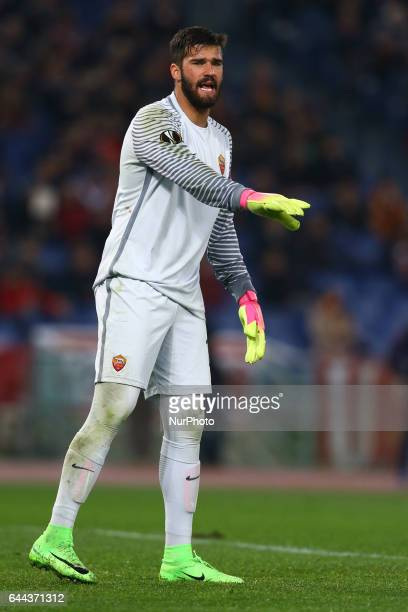Alisson Becker during the UEFA Europa League Round of 32 second leg match between AS Roma and FC Villarreal at Stadio Olimpico on February 23 2017 in...