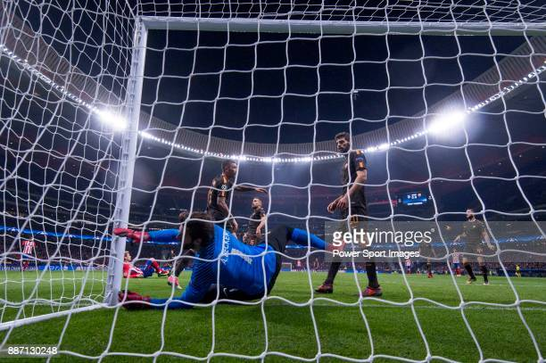 Alisson Becker goal keeper of AS Roma catching the ball during the UEFA Champions League 201718 match between Atletico de Madrid and AS Roma at Wanda...