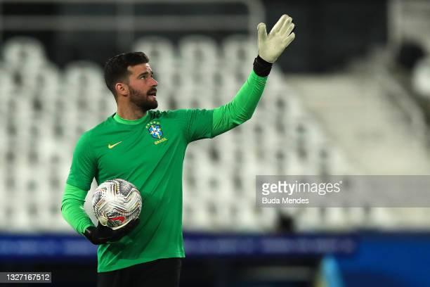 Alisson Becker goalkeeper of Brazil gestures before a semi-final match of Copa America Brazil 2021 between Brazil and Peru at Estadio Olímpico Nilton...