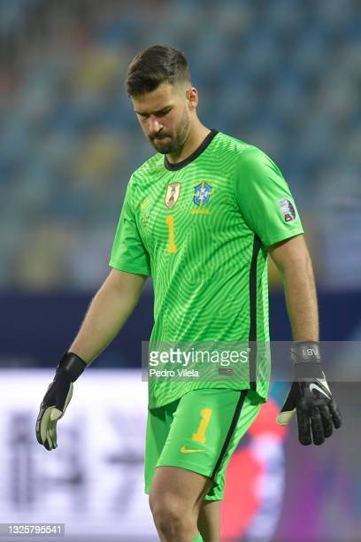 Alisson Becker goalkeeper of Brazil looks on during a group B match between Brazil and Ecuador as part of Copa America Brazil 2021 at Estadio...
