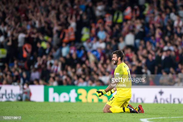 Alisson Becker goalkeeper of Liverpool gestures during the Premier League match between Crystal Palace and Liverpool FC at Selhurst Park on August 20...