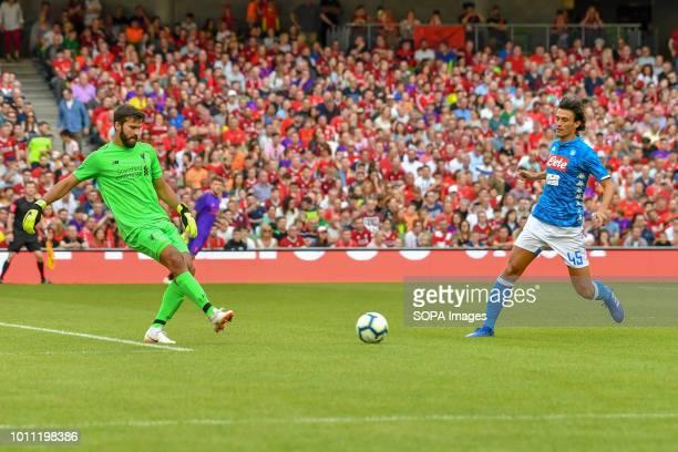 Alisson Becker goalkeeper seen during the Liverpool vs SSC Napoli PreSeason Friendly in Aviva Stadium