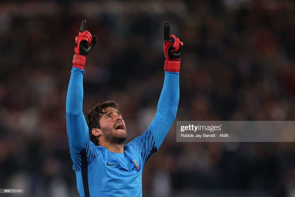 Alisson Becker of AS Roma celebrates during the UEFA Champions League group C match between AS Roma and Chelsea FC at Stadio Olimpico on October 31, 2017 in Rome, Italy.