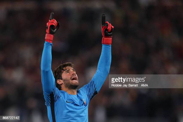 Alisson Becker of AS Roma celebrates during the UEFA Champions League group C match between AS Roma and Chelsea FC at Stadio Olimpico on October 31...