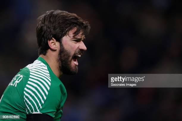 Alisson Becker of AS Roma during the Italian Serie A match between Internazionale v AS Roma at the San Siro on January 21 2018 in Milan Italy