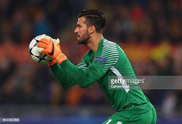 Alisson Becker of AS Roma during the UEFA Champions League Quarter Final second leg between AS Roma and FC Barcelona at Stadio Olimpico on April 10...