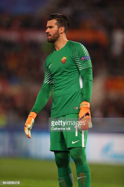 Alisson Becker of AS Roma during the UEFA Champions League Quarter Final Leg Two between AS Roma and FC Barcelona at Stadio Olimpico on April 10 2018...