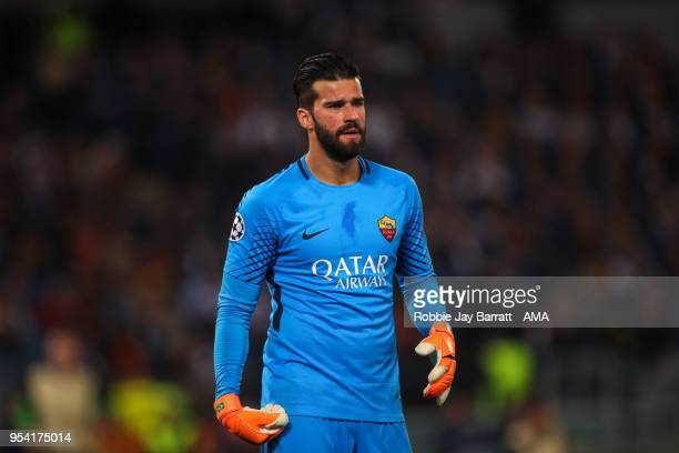 Alisson Becker of AS Roma during the UEFA Champions League Semi Final Second Leg match between AS Roma and Liverpool at Stadio Olimpico on May 2 2018...